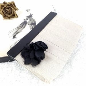 The Limited | Wood & Linen Clutch with 3D Flower